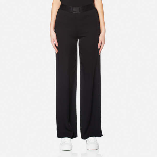 Karl Lagerfeld Women's Wide Leg Snap Pants Black