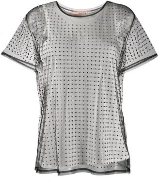 No.21 studded sheer mesh top