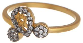 Freida Rothman 14K Gold & Rhodium Vermeil Lattice Motif CZ Cocktail Ring - Size 8