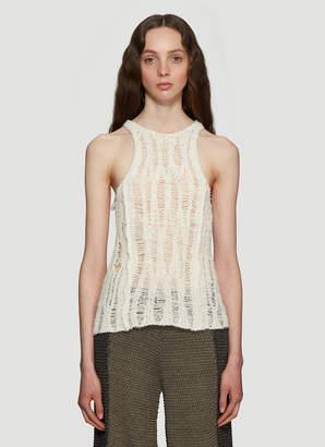 Eckhaus Latta Spider Web Knitted Tank Top in Cream