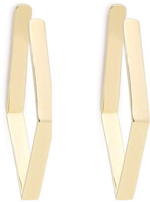 Jennifer Fisher Gold Plated Small Diamond Shaped Hoops Earring