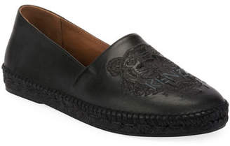 Kenzo Men's Tiger-Stitched Leather Slip-On Espadrilles