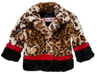 Urban Republic Infant Girls) Leopard Faux Fur Colorblock Jacket