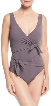 Karla Colletto Barcelona Surplice-Neck One-Piece Swimsuit w/ Knot Details