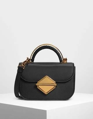 Charles & Keith Metallic Accent Top Handle Bag