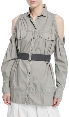 Brunello Cucinelli Cold-Shoulder Snap-Front Cotton Western Shirt with Belt