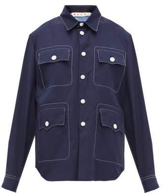 Marni Topstitched Patch Pocket Cotton Poplin Shirt - Womens - Navy