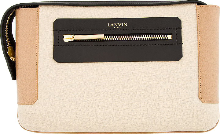 Lanvin Beige Leather Colorblocked Clutch