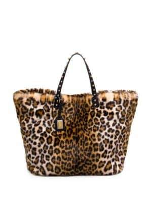 Dolce & Gabbana Faux-Fur Leopard-Print Tote