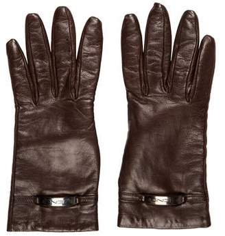 Fendi Leather Logo Accented Gloves