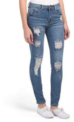 Juniors High Waist Destructed Skinny Jeans