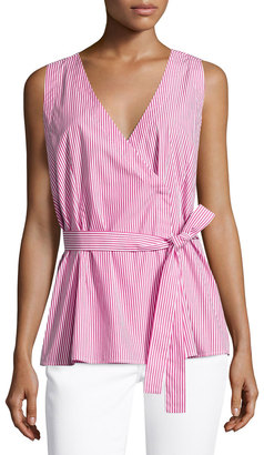 Neiman Marcus Striped Wrap Tunic Blouse, Pink/White $49 thestylecure.com
