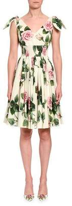Dolce & Gabbana Short-Sleeve Floral Dress