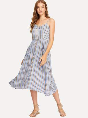 0813a04337a Shein Pocket Front Button Up Striped Cami Dress