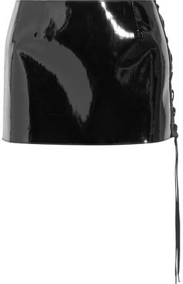 Anthony Vaccarello - Lace-up Vinyl Mini Skirt - Black $925 thestylecure.com