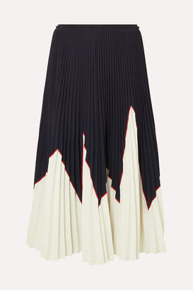 ae1d0be026 RED Valentino Two-tone Pleated Stretch-piqué Midi Skirt - Navy