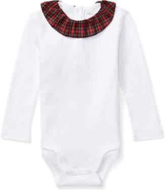 Ralph Lauren Tartan Collar Cotton Bodysuit