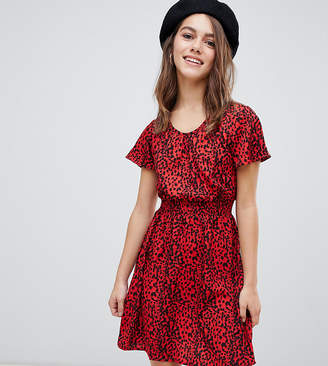 New Look Petite animal print shirred waist dress in red pattern