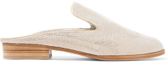 Robert Clergerie - Astre Studded Suede Slippers - Off-white $595 thestylecure.com
