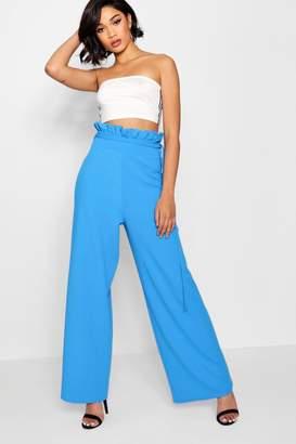 boohoo High Waist Crepe Wide Leg Paperbag Trouser