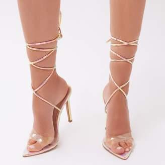 Public Desire Glamour Perspex Cross Over Heels in Iridescent