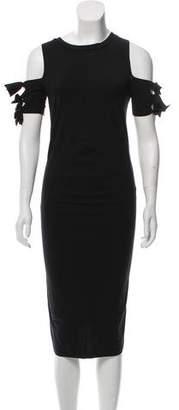 Saint Laurent Cutout Shoulder Midi Dress