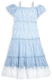 Design History Girl's Cold-Shoulder Space Dye Maxi Dress