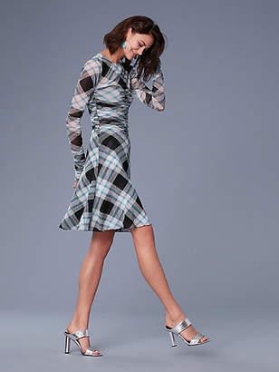 Diane von Furstenberg Long-Sleeve Ruched Mesh Mini Dress
