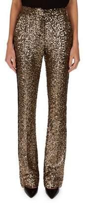 Redemption Golden-Paillettes Straight-Leg Pants w/ Tuxedo Stripe