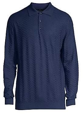 Larusmiani Larusmiani Men's Long-Sleeve Wool Jacquard Polo