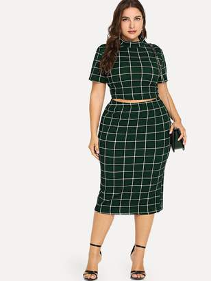d1ded170e3 Shein Plus Mock Neck Crop Grid Top & Skirt Set