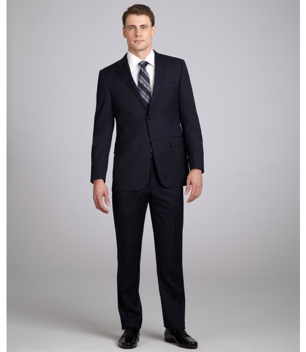 Hickey navy wool 2-button suit with flat front pants