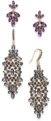 INC International Concepts I.n.c. Day & Night Gold-Tone 2-Pc. Set Coordinated Multi-Stone Cluster Drop Earrings