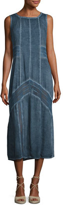 XCVI Long Paneled Denim Tank Dress, Blue $180 thestylecure.com
