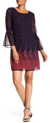 Robbie Bee Floral Printed Bell Sleeve Dress