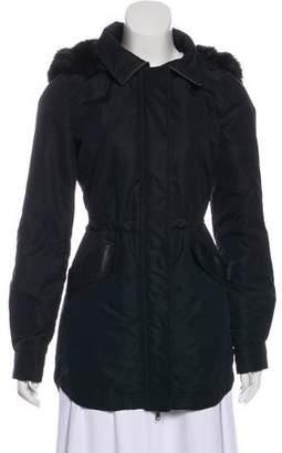 Barneys New York Barney's New York Fur-Trimmed Knee-Length Coat