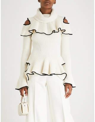 Alexander McQueen Cutout ruffled wool and cashmere-blend jumper