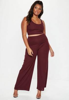 Missguided Plus Size Burgundy Ribbed Crop Top