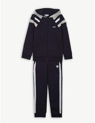 BOSS Striped cotton zip-through hooded tracksuit 4-16 years