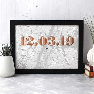 Well Bred Design Personalised New York Map Print With Date