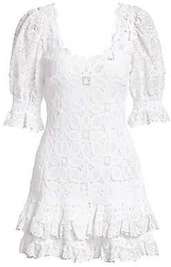 Jonathan Simkhai Women's Crochet Lace Puff-Sleeve Dress - Size 0