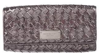 MICHAEL Michael Kors Metallic Woven Leather Clutch