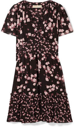 MICHAEL Michael Kors Floral-print Georgette Dress - Black