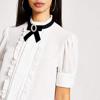River Island White bow embellished collar frill blouse