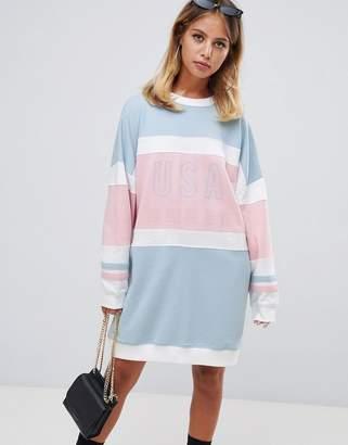 Missguided oversized USA sweat dress in stripe