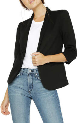 James Jeans Shrunken One-Button 3/4-Sleeve Tuxedo Jacket, Black