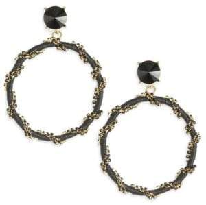 Oscar de la Renta Crystal Chain Hoop Earrings