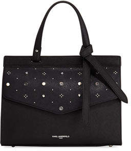 Karl Lagerfeld Paris Susan Embellished Saffiano Leather Satchel Bag