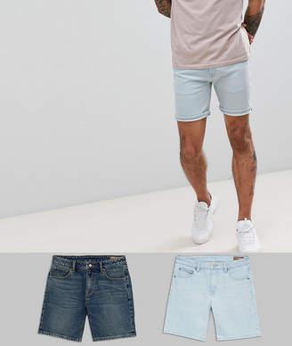 Asos DESIGN Denim Shorts In Skinny Vintage Dark Wash & Light Wash Blue