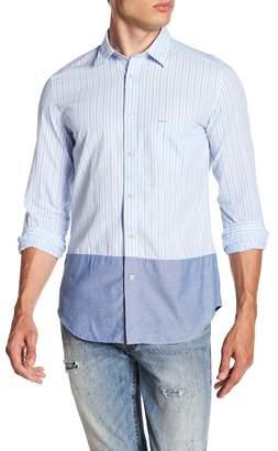 Diesel Stripe & Solid Hem Trim Fit Shirt